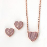 Z1008 rose gold plated with lavender enamel necklace & earring set