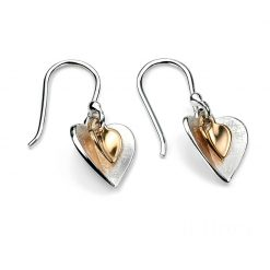 Double heart drop earrings