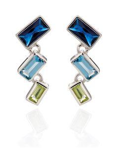 blue fade baguette earrings