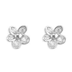 cubic zirconia daisy stud earrings