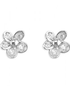 cubic zirconia daisy stud earrings