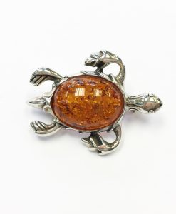 Reconsituted Amber Turtle brooch