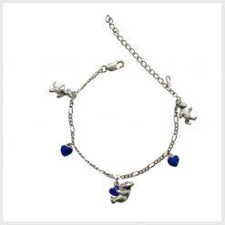 Teddy Bear Blue Enamel Bracelet