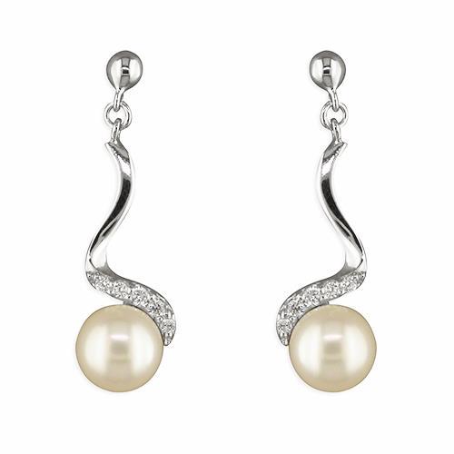 silver pearl swirl earrings silver pearl swirl earrings
