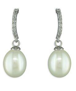 Pearl Half Hoop Earrings