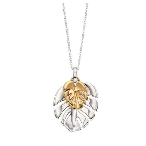 Silver Gold Plated Leaf Pendant Silver Gold Plated Leaf Pendant