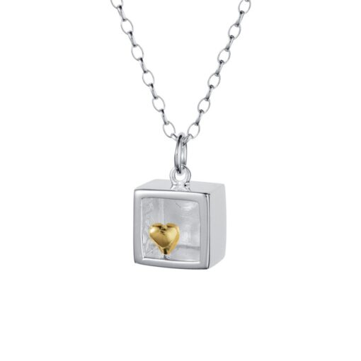 Sterliing Silver Cube Gold Heart Pendant P022SG Sterliing Silver Cube Gold Heart Pendant P022SG