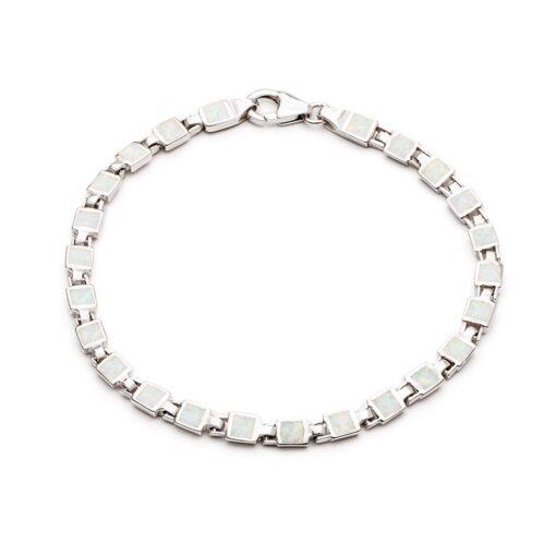 SOBT1WHITE Square Link Bracelet SOBT1WHITE Square Link Bracelet