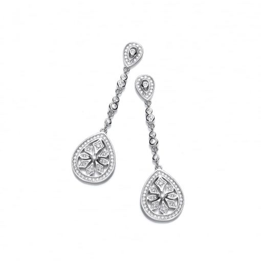 diamondust jewellery sterling silver fancy long drop earrings created with swarovski zirconia diamondust jewellery sterling silver fancy long drop earrings created with swarovski zirconia