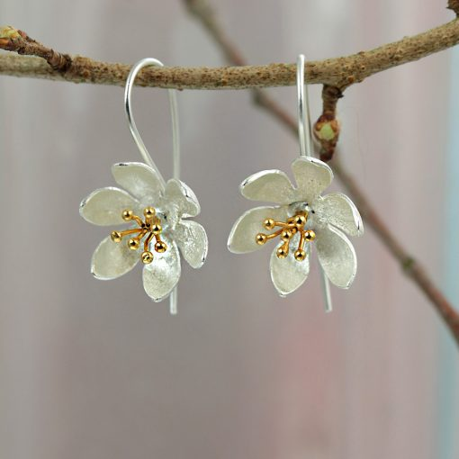 Silver Gold Plated Flower Earrings E146SG Silver Gold Plated Flower Earrings E146SG