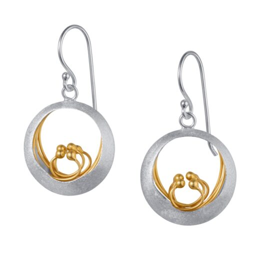 Sterling Silver Gold Plated Earrings E023SG Sterling Silver Gold Plated Earrings E023SG