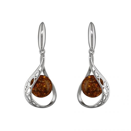 Silver Cognac Amber Drop Earrings H2256B Silver Cognac Amber Drop Earrings H2256B
