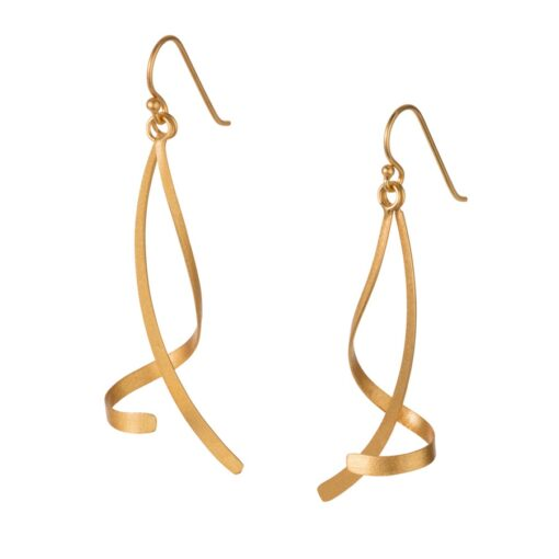 Gold Plated Silver Curved Drop Earrings E174G Gold Plated Silver Curved Drop Earrings E174G