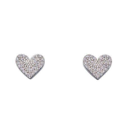 Pave CZ Heart Studs 1 Pave CZ Heart Studs 1