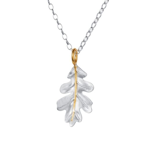 Silver Gold Oak Leaf Pendant P098SG Silver Gold Oak Leaf Pendant P098SG