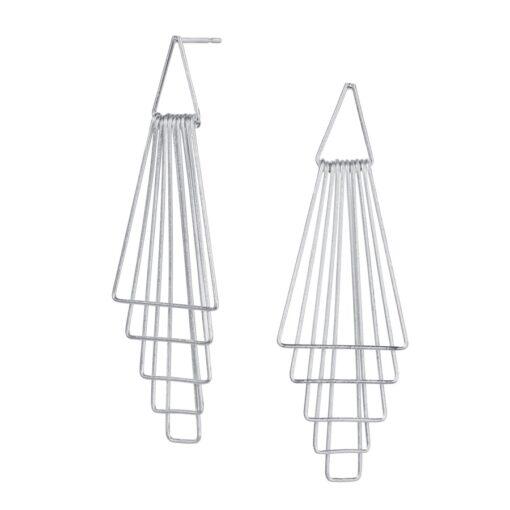 Silver Triangular Shaped Drop Earrings E170S Silver Triangular Shaped Drop Earrings E170S