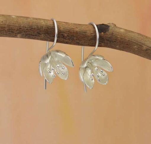 Water Lily Hook Earrings Silver Water Lily Hook Earrings Silver