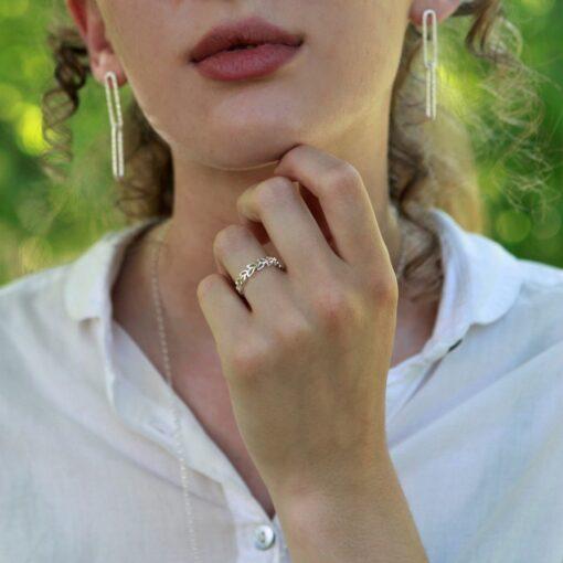 Silver Leaf Ring R084 M Silver Leaf Ring R084 M
