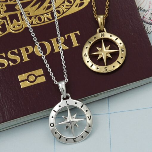 Loves Compass Gold Plated Silver Necklace S Loves Compass Gold Plated Silver Necklace S