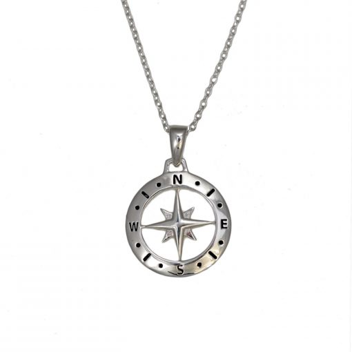 Loves Compass Silver Necklace N007 W Loves Compass Silver Necklace N007 W