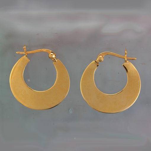 Shiny Gold Plated Silver Crescent Hoop Earrings E214SHG S Shiny Gold Plated Silver Crescent Hoop Earrings E214SHG S