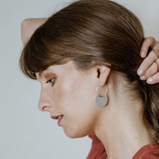 Silver Folded Hoop Earrings E215 M Silver Folded Hoop Earrings E215 M