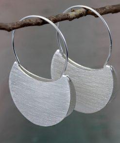Silver Folded Hoop Earrings E215 S Silver Folded Hoop Earrings E215 S