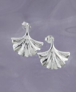 Silver Gingko Stud Earrings E224 S Silver Gingko Stud Earrings E224 S