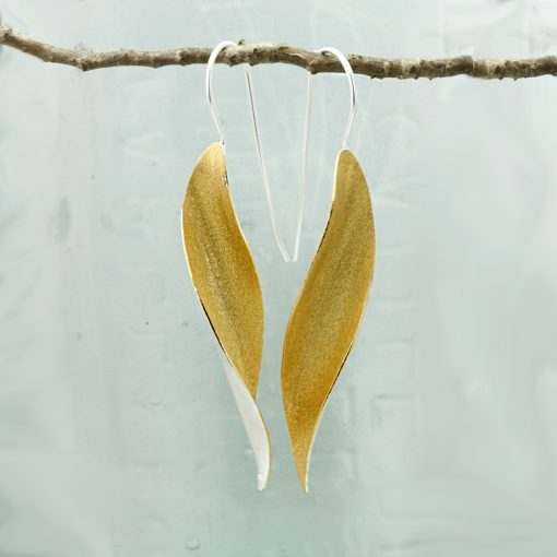 Silver and Gold Long Leaf Earrings E218SG S Silver and Gold Long Leaf Earrings E218SG S