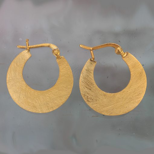 Small Matte Gold Plated Silver Crescent Hoop Earrings E214G S Small Matte Gold Plated Silver Crescent Hoop Earrings E214G S