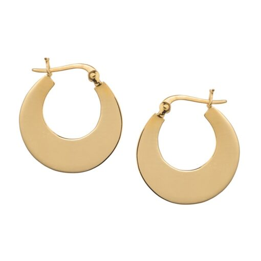 Small Polished Gold Plated Silver Crescent Hoop Earrings E214GSH W Small Polished Gold Plated Silver Crescent Hoop Earrings E214GSH W