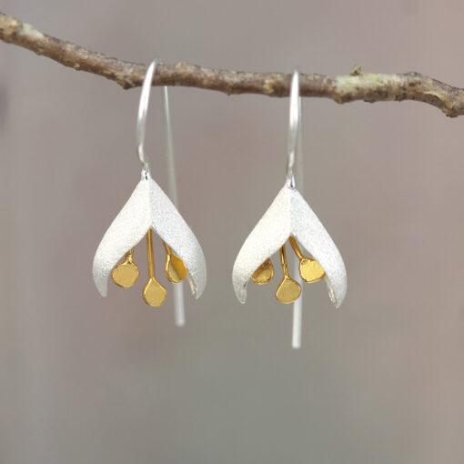 Sterling Silver Gold Plated Flower Earrings E009SG STAGED Sterling Silver Gold Plated Flower Earrings E009SG STAGED