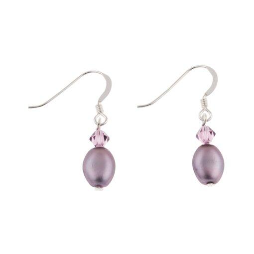 Amethyst Pearl Crystal Bridal Earrings Amethyst Pearl Crystal Bridal Earrings
