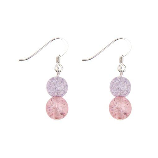 PinkPurple Crackle Globe Earrings PinkPurple Crackle Globe Earrings
