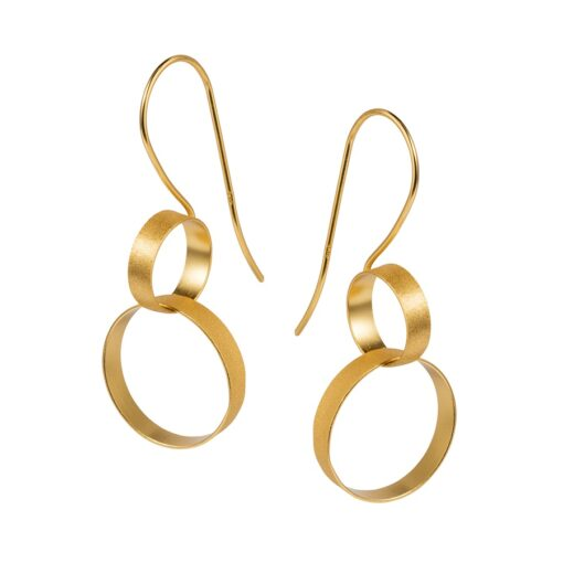Gold Double Hoop Earrings E229G W Gold Double Hoop Earrings E229G W