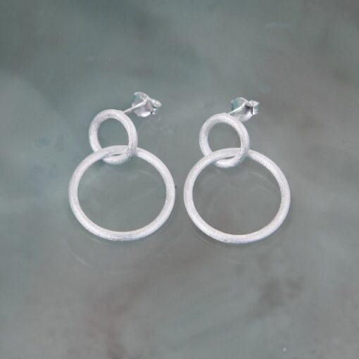 Silver Two Hoop Stud Earrings E239 S Silver Two Hoop Stud Earrings E239 S