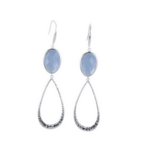 Aqua Chalcedony candy drop long earrings Aqua Chalcedony candy drop long earrings