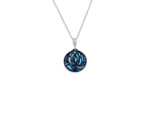 Blossom Blue Cup Pendant Front Blossom Blue Cup Pendant Front