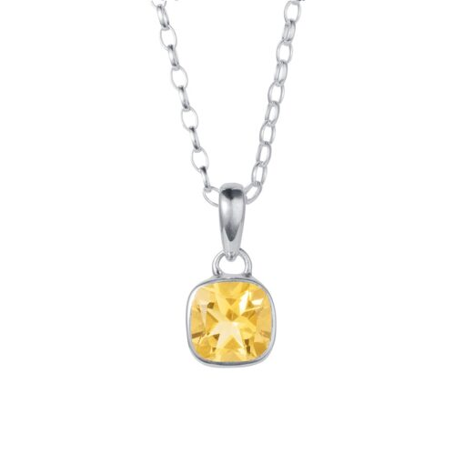 Gem Squared Silver and Citrine Pendant P111BCI W Gem Squared Silver and Citrine Pendant P111BCI W