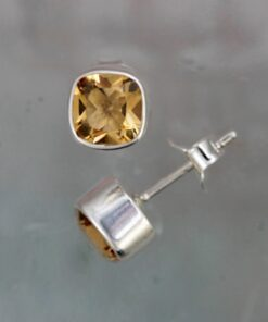 Gem Squared Silver and Citrine Stud Earrings Gem Squared Silver and Citrine Stud Earrings