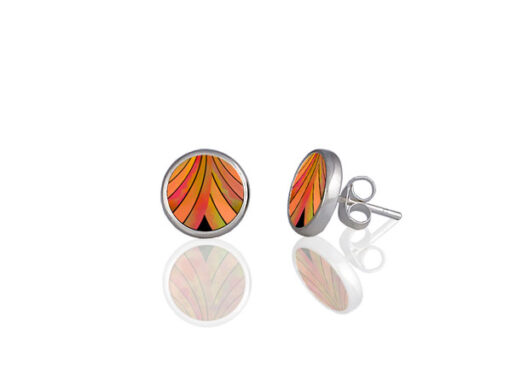 Ribbon Orange Stud Earrings Ribbon Orange Stud Earrings