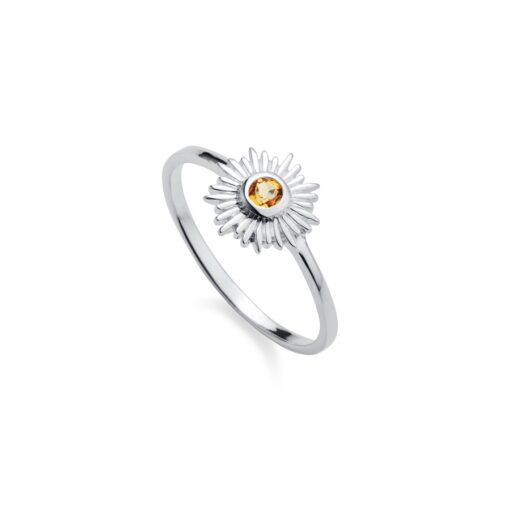 Silver Citrine Sun Ring R098CI W Silver Citrine Sun Ring R098CI W