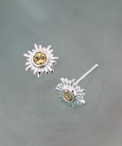 Silver Citrine Sun Stud Earrings E234CI S1 Silver Citrine Sun Stud Earrings E234CI S1
