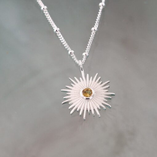 Silver and Citrine Sun Necklace N010CI S Silver and Citrine Sun Necklace N010CI S