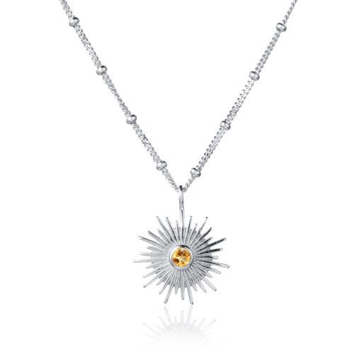 Silver and Citrine Sun Necklace N010CI W Silver and Citrine Sun Necklace N010CI W
