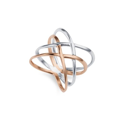 Silver and Rose Gold Cross Over Ring R087RG W Silver and Rose Gold Cross Over Ring R087RG W