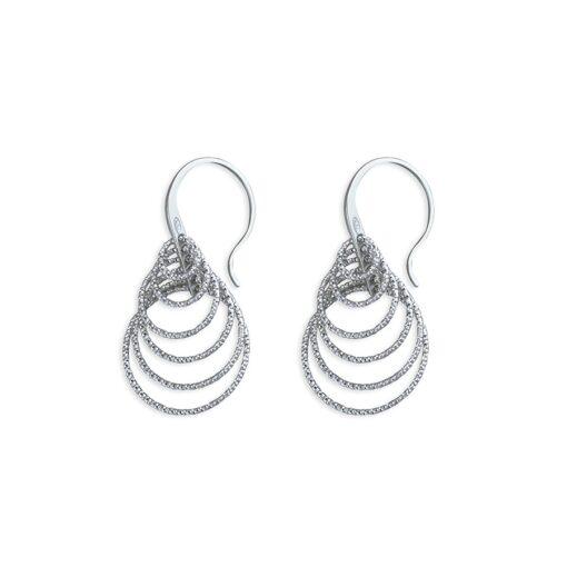 Layered Diamond Cut Multi Ring Earrings