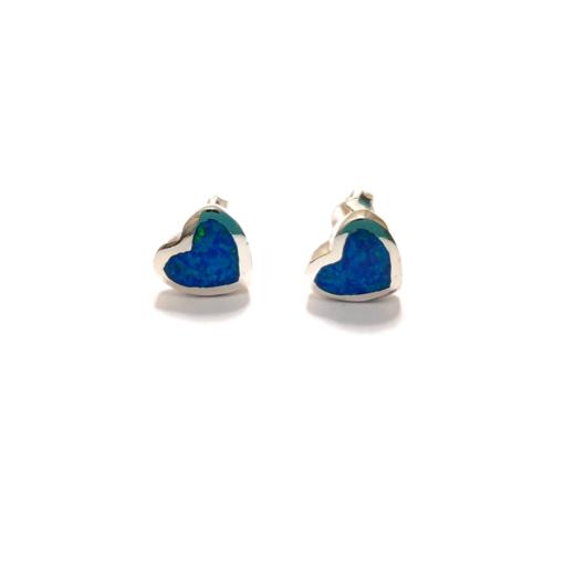 Opalique Heart Stud Earrings - Blue
