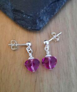 Crystal Mini Pink Heart Earrings