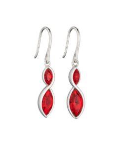 Fiorelli Silver Red Crystal Twist Earrings